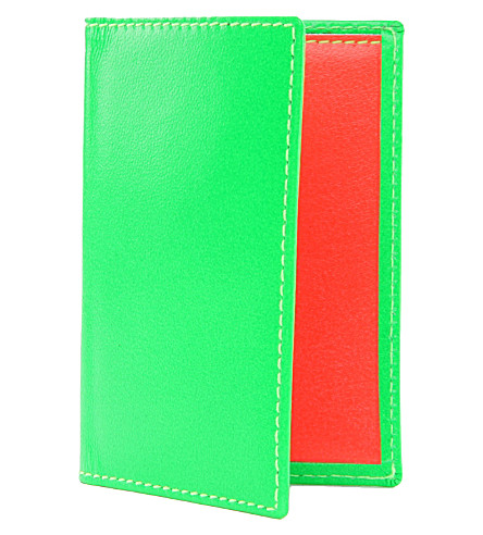 COMME DES GARCONS Fluoro leather card holder (Green