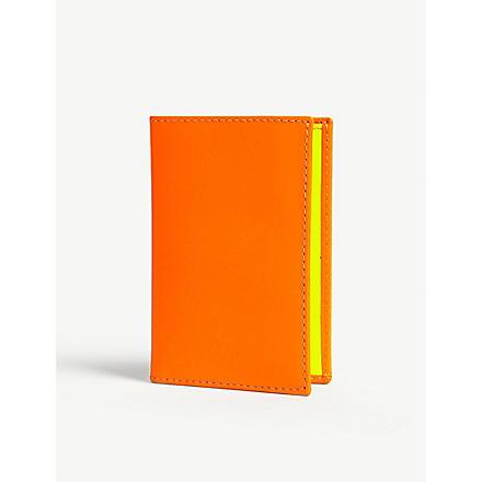 COMME DES GARCONS Fluoro leather card holder (Orange