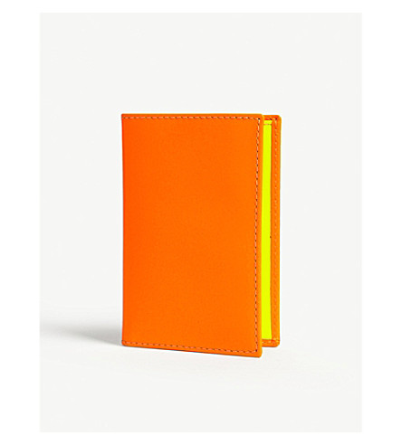 COMME DES GARCONS Fluoro leather card holder (Orange