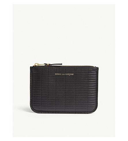 COMME DES GARCONS Brick-embossed leather pouch (Black