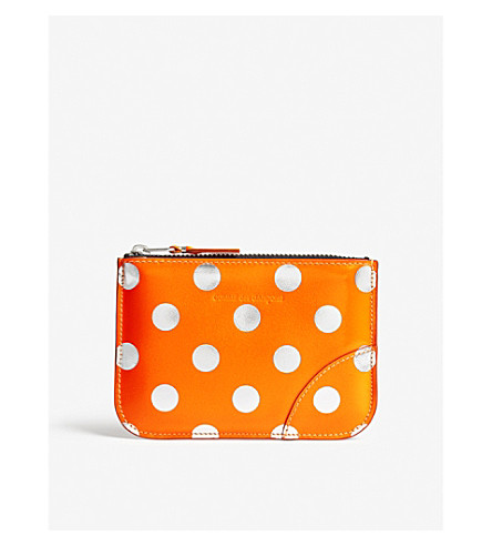 COMME DES GARCONS Polka dot small leather pouch (Dot/orange