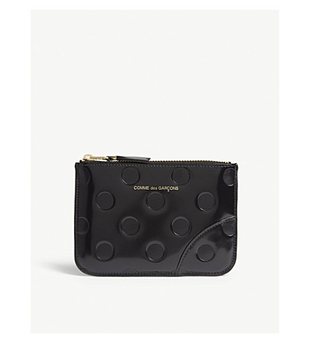 COMME DES GARCONS Leather dotted zip top small pouch (Dot/black