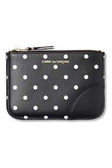 COMME DES GARCONS Polka dot-print leather pouch