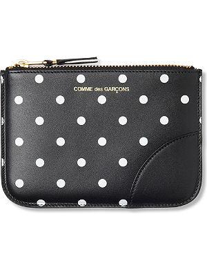 COMME DES GARCONS Polka dot-print leather pouch