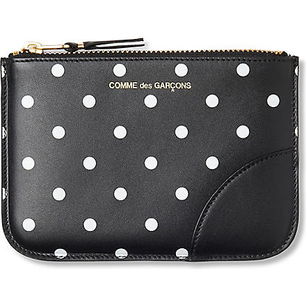 COMME DES GARCONS Polka dot-print leather pouch (Black