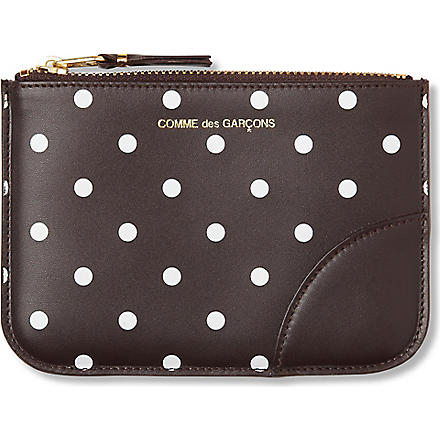 COMME DES GARCONS Polka-dot leather pouch (Brown