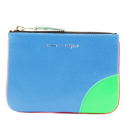 COMME DES GARCONS Fluorescent neon leather coin wallet (Orange