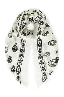 ALEXANDER MCQUEEN Skull-print modal and cashmere-blend pashmina