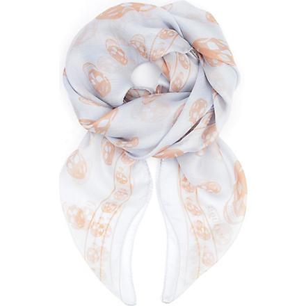 ALEXANDER MCQUEEN Silk skull scarf (Sky blue/blush