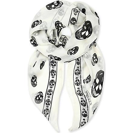 ALEXANDER MCQUEEN Skull-print silk-chiffon scarf (Ivory/black