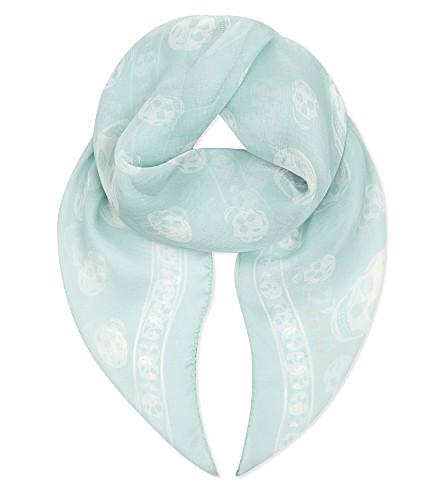 ALEXANDER MCQUEEN Skull print silk-chiffon scarf (Aqua+ivory