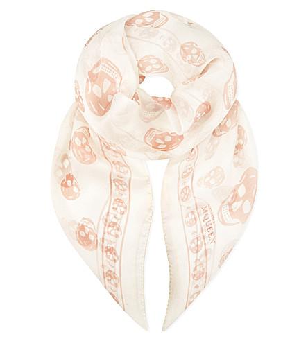 ALEXANDER MCQUEEN Skull print silk-chiffon scarf (White pink