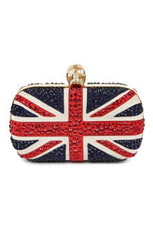 ALEXANDER MCQUEEN Union Jack diamanté clutch