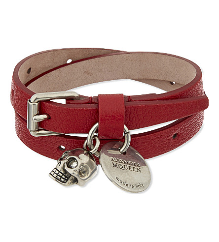 ALEXANDER MCQUEEN Skull double-wrap leather bracelet (Brick