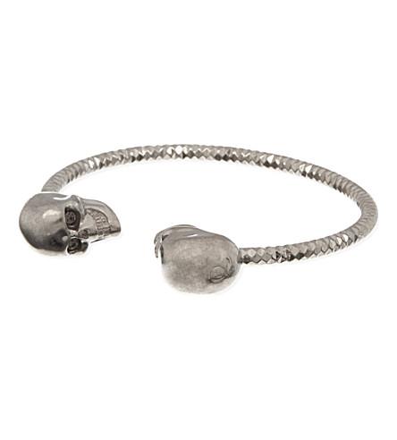 ALEXANDER MCQUEEN Twin skull bracelet (Black+diamond