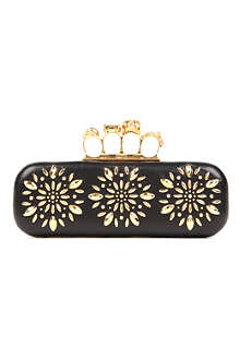 ALEXANDER MCQUEEN Knucklebox studded flower clutch