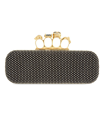 ALEXANDER MCQUEEN Knucklebox studded clutch (Black+gold