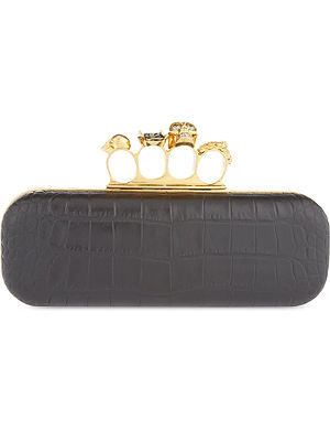 ALEXANDER MCQUEEN Mock-croc knuckle box clutch