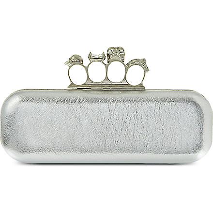 ALEXANDER MCQUEEN Knuckle grained clutch (Silver