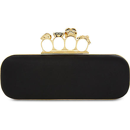 ALEXANDER MCQUEEN Knucklebox satin clutch (Black