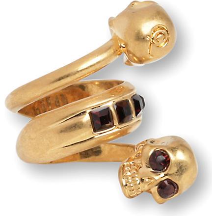 ALEXANDER MCQUEEN Spiral twin skull ring (Burgundy