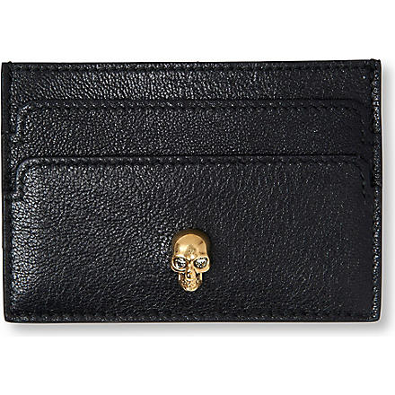 ALEXANDER MCQUEEN Skull-embellished card holder (Black