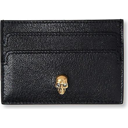 ALEXANDER MCQUEEN Skull-embellished card holder (Black