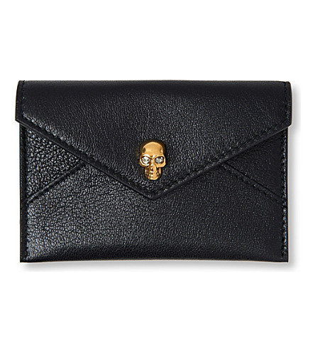 ALEXANDER MCQUEEN Skull envelope card holder (Black