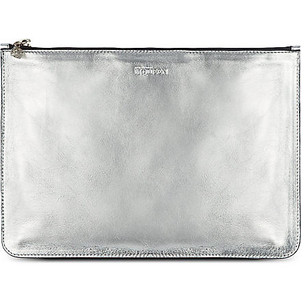 ALEXANDER MCQUEEN Metallic leather pouch (Silver