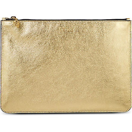 ALEXANDER MCQUEEN Metallic leather pouch (Gold