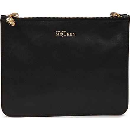 ALEXANDER MCQUEEN Skull leather double pouch (Black