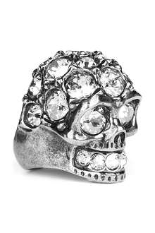 ALEXANDER MCQUEEN Glory crystal skull cocktail ring