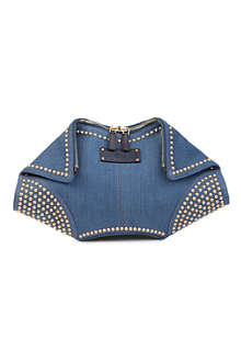 ALEXANDER MCQUEEN De Manta denim clutch