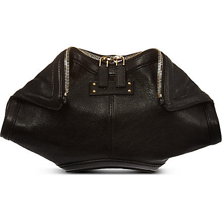 ALEXANDER MCQUEEN Manta leather clutch (Black