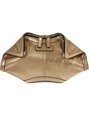 ALEXANDER MCQUEEN De Manta metallic leather clutch