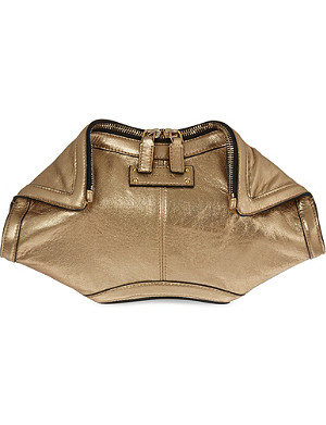 ALEXANDER MCQUEEN De Manta metallic leather clutch