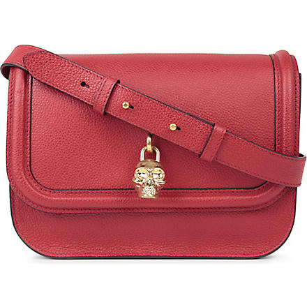 ALEXANDER MCQUEEN Padlock leather satchel (Red