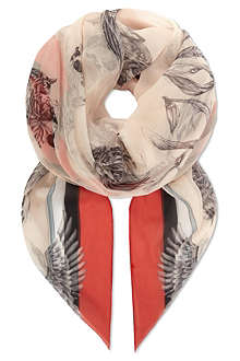 ALEXANDER MCQUEEN Skulls and swallows silk chiffon scarf