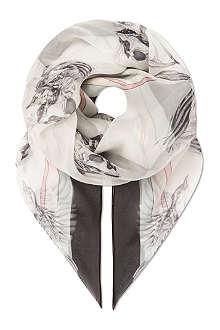 ALEXANDER MCQUEEN Skull chiffon scarf