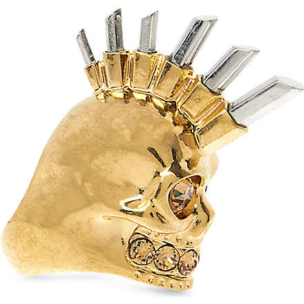 ALEXANDER MCQUEEN Punk metal skull ring (Gold