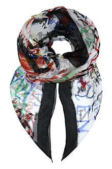 ALEXANDER MCQUEEN Graffiti skull chiffon scarf