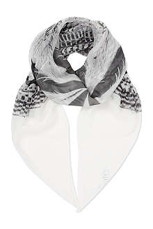 ALEXANDER MCQUEEN Feather striped silk scarf