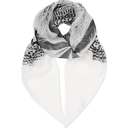 ALEXANDER MCQUEEN Feather striped silk scarf (White / black