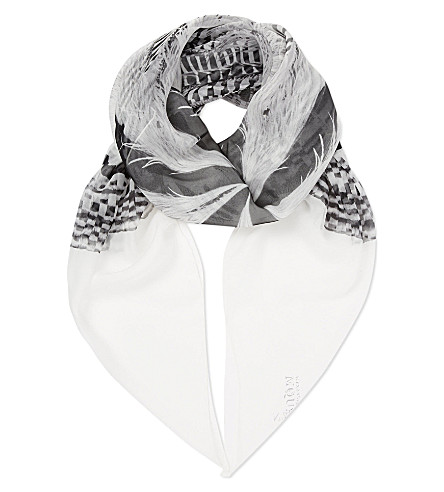 ALEXANDER MCQUEEN Feather striped silk scarf (White / black