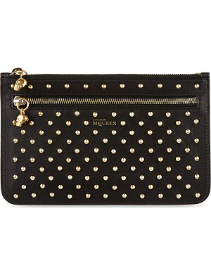ALEXANDER MCQUEEN Double zip leather stud pouch