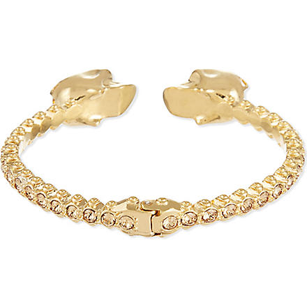 ALEXANDER MCQUEEN Twin skull studs bracelet (Gold