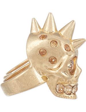 ALEXANDER MCQUEEN Punk skull double knuckle ring
