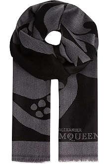 ALEXANDER MCQUEEN Black & grey skull scarf