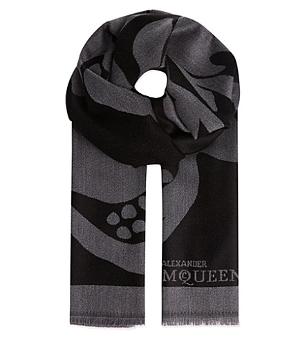 ALEXANDER MCQUEEN Black & grey skull scarf (Black/grey