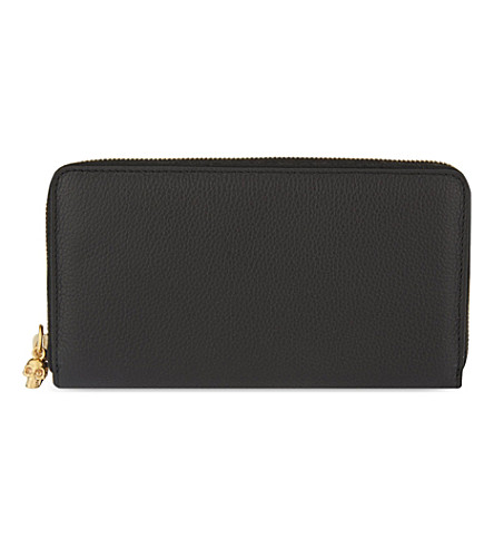 ALEXANDER MCQUEEN Continental zip around leather wallet (Black